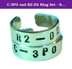 """C-3PO and R2-D2 Ring Set - Star Wars - Best Friends - Couples Ring Set. This ring set is hand stamped (one letter at a time), on a 1/4"""" x 3"""" aluminum blank. One is stamped 'C-3PO' and the other is stamped 'R2-D2'. Adjustable to any size but please let us know your ring size for best fit. The rings are made out of Pure 1100 Aluminum, which is food safe and does not tarnish. They contain no Zinc or Magnesium which are often found in common aluminum and can cause skin reactions. This also…"""