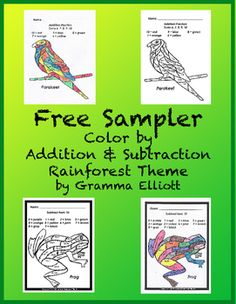 "Rainforest Color by Number Addition and Subtraction No Prep Printables contains 2 student pages and 2 answer pages:Frog  - Subtract from 10Parakeet  Add Sums 6, 7, 8, 9, 10  Other ""Color by Number"" resources in my store CLICK HERE! Gramma Elliott Educational Tools and Clip ArtGrammaElliottCreations@gmail.com"
