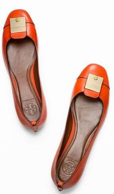 Tory Burch | Priscilla Flats. I need more colored shoes...orange would be great for fall. #delightfullychic