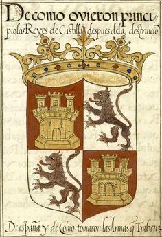 «El Becerro general: libro en que se relata el blasón de las armas que trahen muchos reynos y imperios, señoríos ... y de la genealogía de los lynages de España y de los escudos de armas que trahen», by Diego Hernández de Mendoza, 1601-1699 [Biblioteca Digital HispánicaMss 18244 V01, Mss 18245 V02]. -- Los Reyes de Castilla (f°83) Medieval Shields, Portugal, My Family History, Family Crest, Crests, Old Wood, Coat Of Arms, Renaissance, Knight