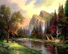 The Mountains Declare His Glory - 2000 - Thomas Kinkade.   After completing my recent plein air study of Yosemite Valley, the mountains' majesty refused to leave me. When my family wandered through the national park visitor center, I discovered a key to my fantasy—a recreation of a Miwok Indiana Village.  — Thomas Kinkade