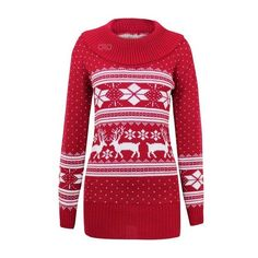 AXTokyo Ladies Womens Long Christmas Jumper Reindeer Classic Nordic... ($15) ❤ liked on Polyvore featuring dresses, knit dress, red christmas dress, long red dress, long length dresses and long day dresses