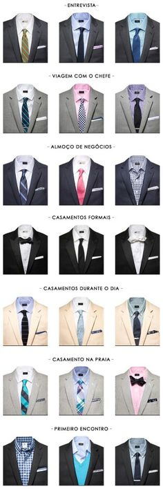 Casual and business combination of suit, necktie and shirts, for different occasions Gentleman Mode, Gentleman Style, Suit Guide, Suit Fashion, Mens Fashion, Style Masculin, Look Man, Men Formal, Men Style Tips