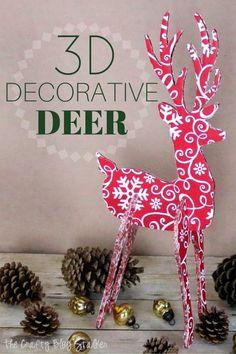 DIY 3D Decorative Deer - Love this Christmas decoration!