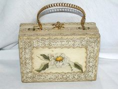 Vintage Wood Box Purse  Ivory with Carved by CJKingVintageFinds