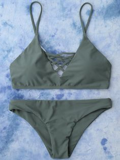 11.99 Lace Up Bikini Top and Bottoms - ARMY GREEN M Bikinifelsők 85d19d5e15