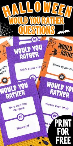 Free printable Halloween would you rather questions make for a super fun Halloween party game for family and friends!