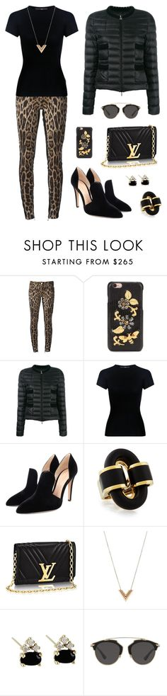 """""""Untitled #432"""" by maylamartha ❤ liked on Polyvore featuring Roberto Cavalli, Dolce&Gabbana, Moncler, TIBI, Gianvito Rossi, Louis Vuitton and Christian Dior"""