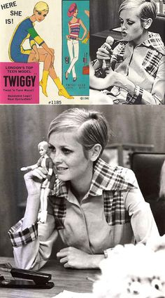 Twiggy with Mattel's Twiggy doll, 1967