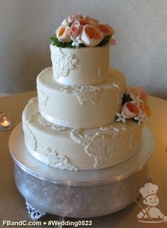 "Design W 0523 | Fondant Wedding Cake | 14""+10""+6"" 