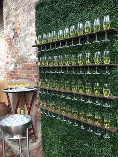 Champagne Wall + Escort Card Idea