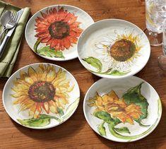 Sunflower Melamine Salad Plates, Mixed Set of 4 | Pottery Barn