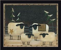 folk art primitive wood sheep - Google Search
