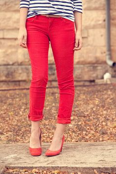 red skinnies and black and white top@Tess Oetter - and yellow flats
