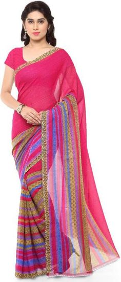 6ef218ff213 Printed Daily Wear Georgette Saree (Pink) Style  Sari Saree Fabric   Georgette Blouse