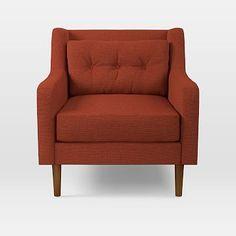 Crosby Arm Chair, Chunky Basketweave, Burnt Orange
