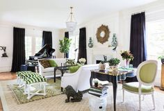 Pantone 2017 Color Greenery, green interior decor 2017 trends, green living room, elegant interior decor
