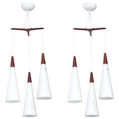 Pair of Holmegaard Triple Milk Glass Pendants