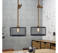 This 2 pendant ceiling light is made of metal and rope with a tough industrial look. The caps hang from a long twisted rope, which can be adjusted by inserting a knot for example. A very playful but tough looking ceiling light. Boot Room, Interior Inspiration, Industrial Pendant Lights, Ceiling Lights, Interior Design Inspiration, Ceiling, Industrial Ceiling Lights, Home Interior Design, Scandinavian Interior