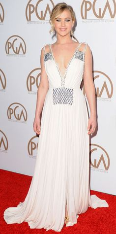 Look of the Day - January 26, 2015 - Jennifer Lawrence in Prada from #InStyle