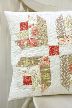 "Quilted Pillow Cover - 18"" X 18"" - in the Tapestry Fabric Collection by Fig Tree"
