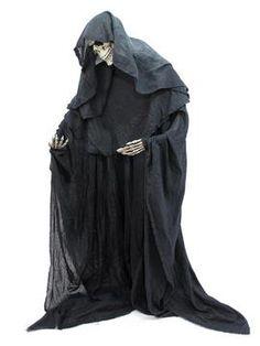 EUROPALMS Halloween Figur Skelett formbar - Stehendes Skelett mit schwarzem Stoffumhang. Individuell zu biegen. Stabiler Standfuß inklusive. Höhe: 160 cm. Breite: 70 cm. Tiefe: 20 cm.
