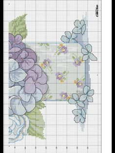 Blue hydrangea crossstitch