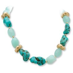 This stunning necklace from Angelina D'Andrea is beautifully crafted from a satin finished gold overlay and features invisible-set lucite, turquoise and agate stones. It is hung on an 18-inch rolo chain that secures with a toggle clasp.