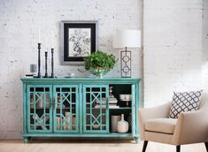 Add color in a stark space with our Grenoble Media Cabinet! Perfect for your hallway, living room or dining room!