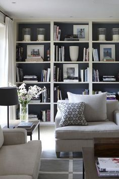 Home Design Ideas: Home Decorating Ideas Living Room Home Decorating Ideas Living Room Family room - Dark Bookshelves (dark cupboard doors too) with white trim Interio. Bookshelves In Living Room, Bookshelves Built In, Built Ins, Bookcases, Book Shelves, Wall Shelving Living Room, Built In Cupboards Living Room, Bedroom Wall Shelves, Organizing Bookshelves