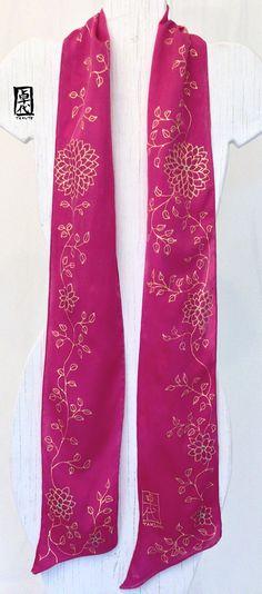 Sash Silk Scarf Handpainted Long Japanese di SilkScarvesTakuyo