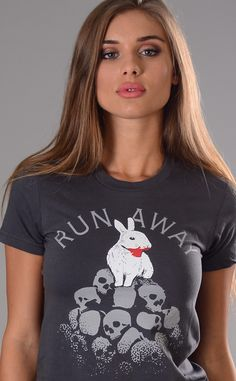 """Run Away"" bunny t-shirt.  Grey graphic tee for fans of Monty Python."