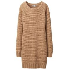 UNIQLO Women Heattech Knit Long Sleeve Dress (275 ZAR) ❤ liked on Polyvore featuring dresses, tops, short dresses, sweater dresses, sweater dress, long sleeve sweater dress, long sleeve short dress and beige short dress