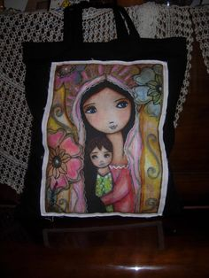 Young Madonna with Child and Flowers tote bag by Flor by eltsamp, $80.00
