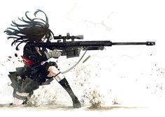 Anime guns weapons manga girls white background sniper rifles widescreen desktop mobile iphone android hd wallpaper and desktop. Manga Girl, Chica Anime Manga, Anime Art Girl, Anime Girls, Anime Military, Military Girl, Nightcore Anime, Original Anime, Art Anime Fille