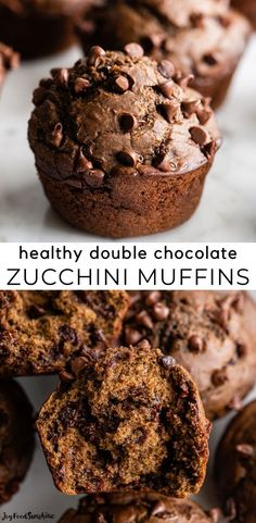 The best healthy Double Chocolate Zucchini Muffins recipe! These easy zucchini chocolate chip muffins are made with nutritious ingredients, they're moist, chocolatey and can be gluten-free. Plus, they freeze well for a quick healthy breakfast you can grab on the go!