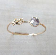Tanzanite Gold Ring, Infinity Knot Ring, Delicate Gemstone Ring, Purple Ring, Rose Gold Ring, Yellow Gold Ring, Love Knot Ring, Skinny Ring by NicoleScheetz on Etsy
