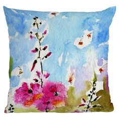 I pinned this Ginette Fine Art Pink Lavatera Throw Pillow from the Deny Designs event at Joss and Main!