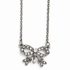 Silver-tone Downton Abbey Clear Crystal Bow 3in ext Necklace