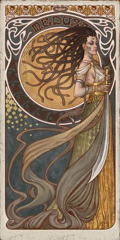 "lulubonanza: "" Medusa by Aly Fell "" [ A gorgeous full length image of a pale skinned medusa, done in an swirly art Nouveau style heavily reminiscent of Alphonse Mucha. Medusa Kunst, Medusa Art, Medusa Painting, Medusa Gorgon, Medusa Tattoo, Medusa Head, Art And Illustration, Illustrations, Alphonse Mucha"