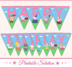 Welcome to PrintableSolution! :)  INSTANT DOWNLOAD - Peppa Pig Happy Birthday Banner  Please note that this is a Printable/Digital Product. No