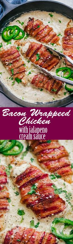 Chicken recipes - In the delicious world of bacon, this Bacon Wrapped Chicken with Jalapeno Cream Sauce will heat of your kitchen and captivate your tastebuds REPLACE milk for chicken broth to make keto Think Food, I Love Food, Food For Thought, Good Food, Yummy Food, Tasty, Cooking Recipes, Healthy Recipes, Game Recipes