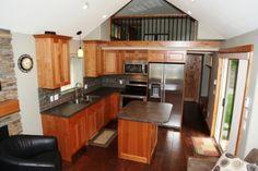 wide view of the same tiny home as the super nice kitchen