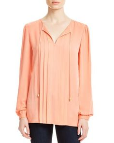 MICHAEL Michael Kors Pleated Silk Blouse | Bloomingdale's