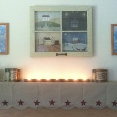 COUNTRY SEASONS PICTURE .... COLONIAL MANTLE SCARF .... LIT ROW OF TEA LIGHT CANDLES .... VINTAGE EDISON RECORDS ...... Some of our Home Decor Ideas