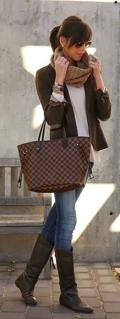 Brown handbag blazer jacket white shirt sunglasses scarf beige knitted blue jeans long boots watch spring style apparel women clothing outfit fashion autumn casual