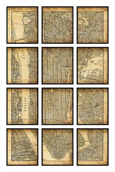 New York City Map 12 Panel New York City Manhattan Street Map Vintage Grunge