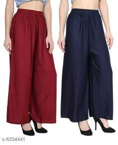 Palazzos Women's Solid Pack of 2 Palazzo Fabric: Rayon Pattern: Solid Multipack: 1 Sizes:  Free Size (Waist Size: 40 in Length Size: 39 in)  Country of Origin: India Sizes Available: Free Size   Catalog Rating: ★4 (428)  Catalog Name: Trendy Women Palazzo CatalogID_1041048 C79-SC1039 Code: 783-6534441-
