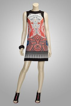 """""""Spellbound"""" is the perfect summer sheath dress, in a silk bordered geometric print."""
