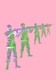 "Saatchi Art Artist Veronica Formos; New Media, ""Soldiers in pink (LIMITED edition- 5 pieces)""  #art #newmedia #print #printmaking #tank #pink #contemporaryart #digital #photoshop"